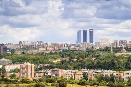 torres: Skyscrapers and residential district in Madrid, Spain