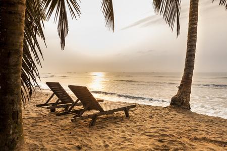 Beautiful beach at sunriset in Ghana, West Africa