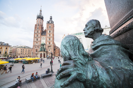 mickiewicz: Mickiewicz Monument and Mariacki Church in Krakow, Poland Editorial