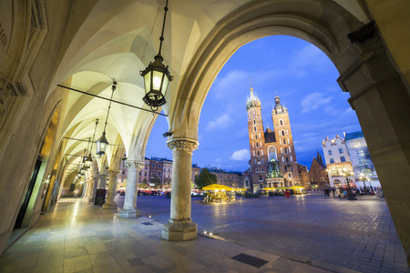 Mary s Church and Cloth s Hall on the Krakow market square photo