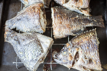 Baked tilapia directly from Volta Lake, Ghana, West Africa photo