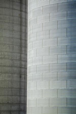 big bin: Huge, silver, shiny agricultural silos. Stock Photo