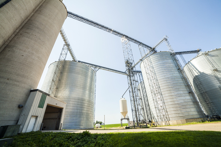 Huge silver shiny agricultural silos.