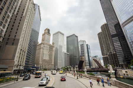 Chicago, USA - July 16, 2014: Traffic and architecture in Chicago downtown.