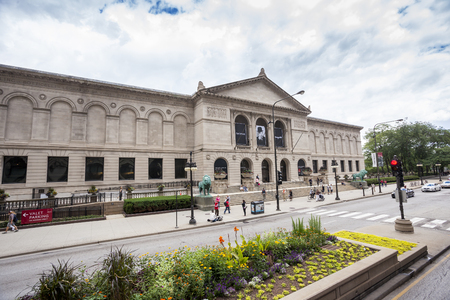 Chicago, USA - July 15, 2014: The art institute of Chicago, Illinois. Its the second largest art museum in the United States. Фото со стока
