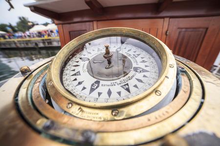 Big compass on a siling ship Stok Fotoğraf