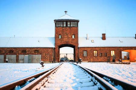 auschwitz memorial: Main gate to concentration camp of Auschwitz Birkenau, Poland