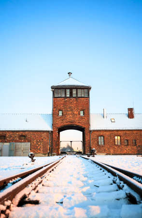 birkenau: Main gate to concentration camp of Auschwitz Birkenau, Poland