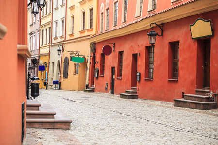 lublin: Beautiful Lublin city center street, Poland Stock Photo