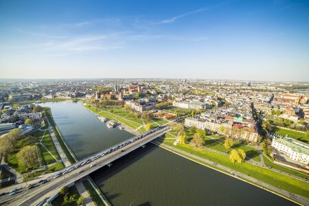 Panorama of beautiful Krakow, former capital city of Poland, Europe