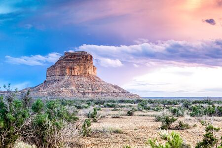 chaco: Beautiful sunset over a golden Fajada Butte