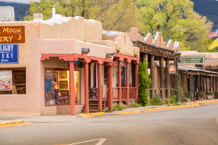 May 6, 2015 - Taos, New Mexico: Main Street in Taos, which is the last stop before entering Taos Pueblo, New Mexico Editorial