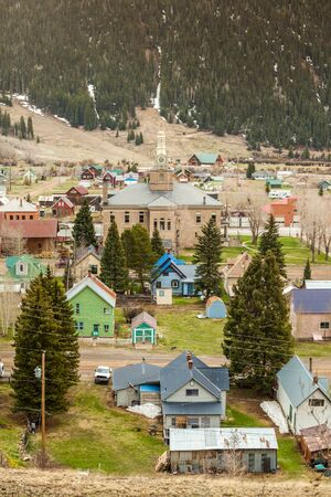 ouray: Panorama of mountainous Silverton located in Colorado mountains Stock Photo