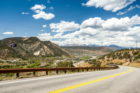 Highway leading to mountainous region of Durango, Colorado, USA Stok Fotoğraf