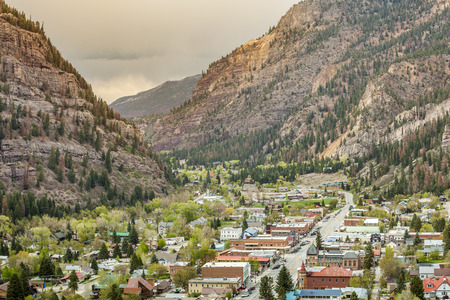 ouray: Beautiful Ouray located between high mountains Stock Photo
