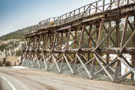 colorado railroad museum: Old wooden railway bridge used to transport silver from mine, Colorado, USA Stock Photo