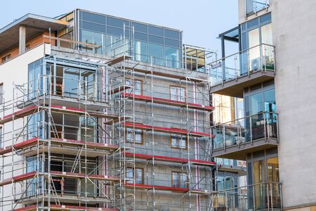 new construction: close up of block of apartments under construction Stock Photo
