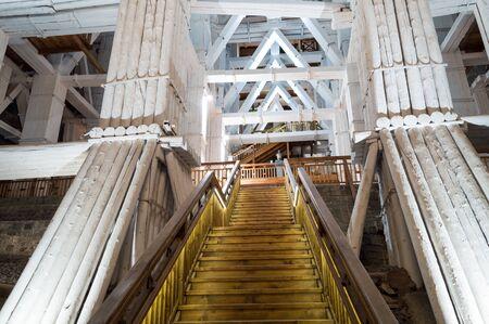 Beautiful interior of famous salt mine in Wieliczka, Poland Imagens