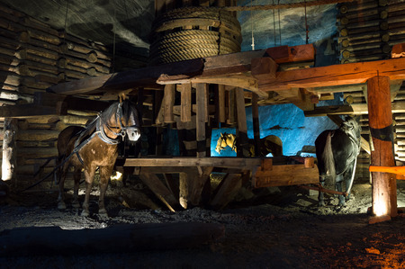 Wooden mining machine powered by horses, Wieliczka, Poland Editorial