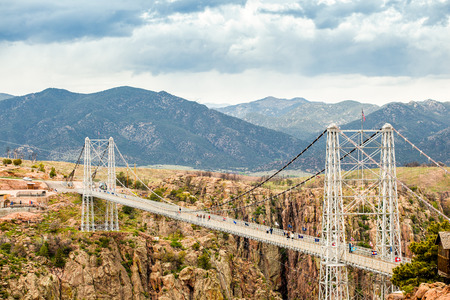 Royal George Suspension Bridge over Arkansas River, Colorado, USA Stock fotó - 44317627