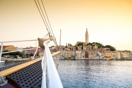 sail boat: Sail boat and charming Rovinj, Croatia, Europe