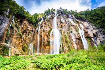 slap: Veliki Slap in Plitvice Lakes National Park, Croatia Stock Photo