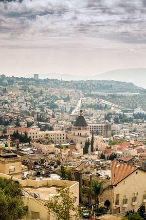 nazareth: Basilica of Announciation in Nazareth, Israel . Stock Photo