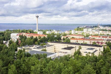 Panorama of Tampere located between Nasijarvi and Pyhajarvi Lakes