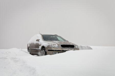 Elegant car got stuck in snowdrift