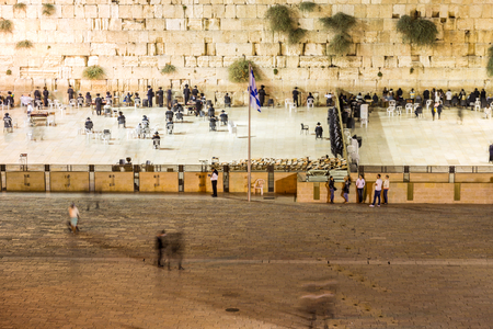 jews: Wailing Wall with many Jews, Jerusalem, Israel Stock Photo