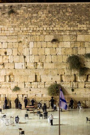 wailing: Wailing Wall with many Jews, Jerusalem, Israel Stock Photo