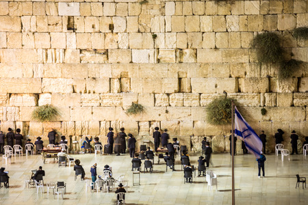 Wailing Wall with many Jews, Jerusalem, Israel Stock Photo