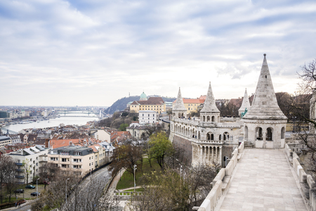 fishermens: Fishermens Tower and Gellerts Hill in Budapest, Hungary Stock Photo