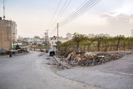 suburbs: Hebron, Palestine - November 3, 2015: Poor suburbs of Hebron during riots in this area.