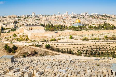 kotel: Cityscape of Jerusalem taken from Mount of Olives, Israel