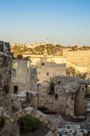 mount of olives: Al Aqsa mosque and Mount of Olives, Jerusalem, Israel Stock Photo