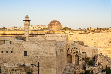 al aqsa: Al Aqsa mosque and Mount of Olives, Jerusalem, Israel Stock Photo