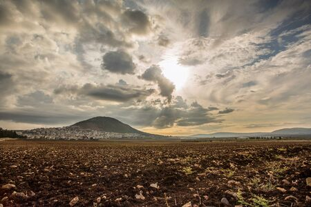 galilee: Panorama of Tabor Mountain and Jezreel Valley in Galilee, Israel