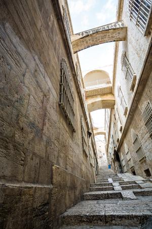 jewish houses: Steep street of Jerusalem, Israel Stock Photo