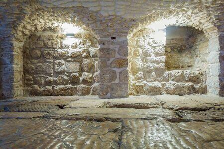 judged: Roman ancient floor called Lithostrotos - place where Pilate judged Jesus, Jerusalem, Israel