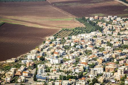 populated: Densely populated city and fertile fields, Israel, Middle East