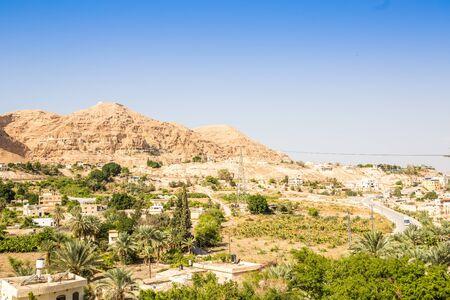 Mount of Temptation naast Jericho - plaats waar Jezus werd verzocht, de Palestijnse Autonomie