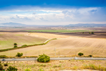 israel agriculture: Jezreel Valley - place of many historic events. Take from Megiddo  Armageddon Hill, Israel.