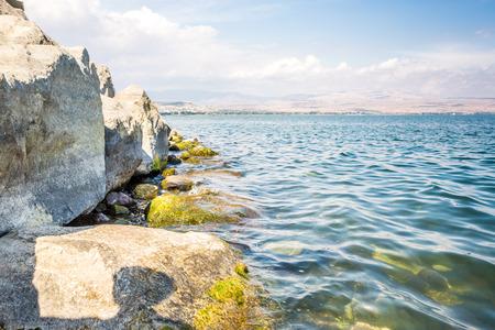 갈릴리 해안의 해안, 이스라엘, 중동 스톡 콘텐츠