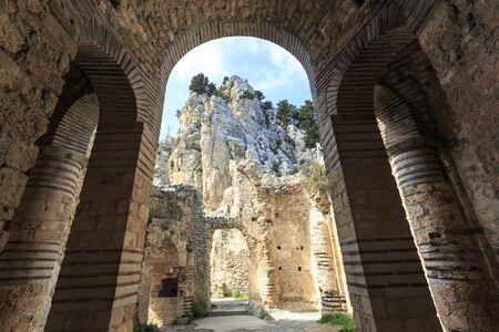 hilarion: Fairy Tale Castle of Saint Hilarion in Northern Cyprus Stock Photo
