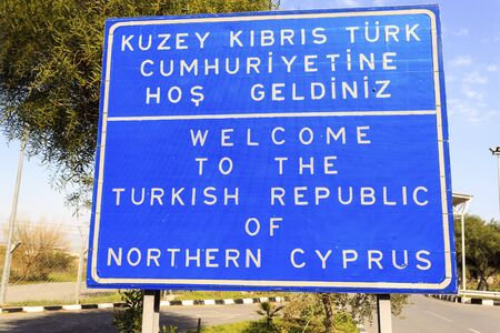 kibris: Welcome to The Turkish Republic of Northern Cyprus border sign.