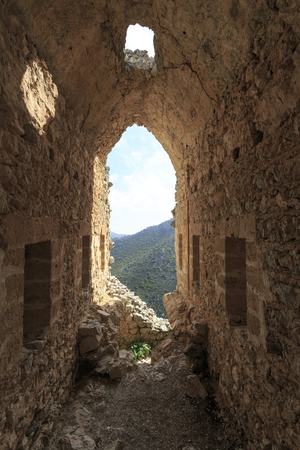 st hilarion: Fairy Tale Castle of Saint Hilarion in Northern Cyprus Stock Photo