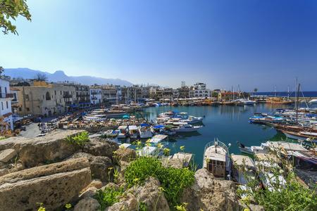 Marina in affascinante Kyrenia, Repubblica turca di Cipro del Nord Archivio Fotografico