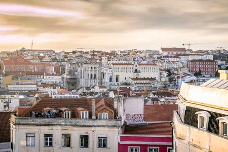 the capital city: Sunset over beautiful Lisbon, capital city of Portugal, Europe Stock Photo