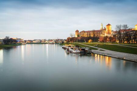 Wawel Castle and Vistula river in Krakow, Poland, Europe